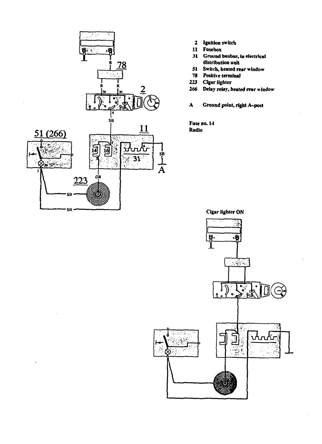 Volvo  wiring diagrams cigar lighter