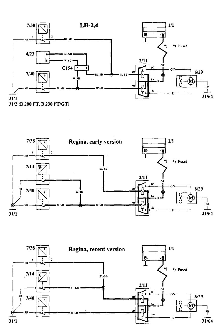 volvo 940 cooling fan wiring diagram volvo 940  1994 1995  wiring diagrams cooling fans  volvo 940  1994 1995  wiring