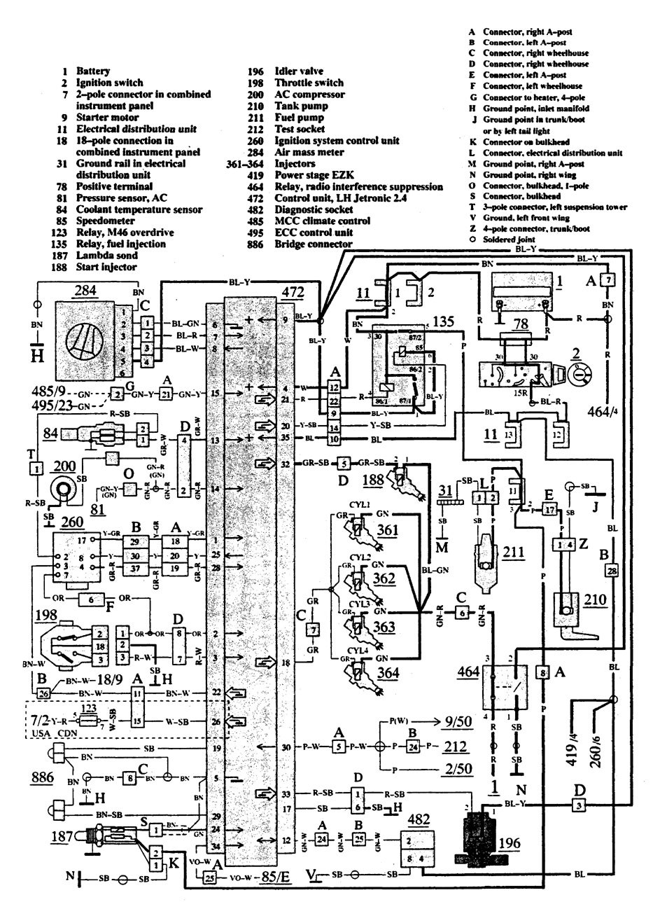 Volvo 940  1991  - Wiring Diagrams - Fuel Controls