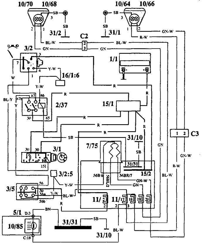 1993 audi 100 wiring diagram altec lansing gcs 100 wiring diagram volvo 940 (1993 - 1994) - wiring diagrams - headlamps ... #11
