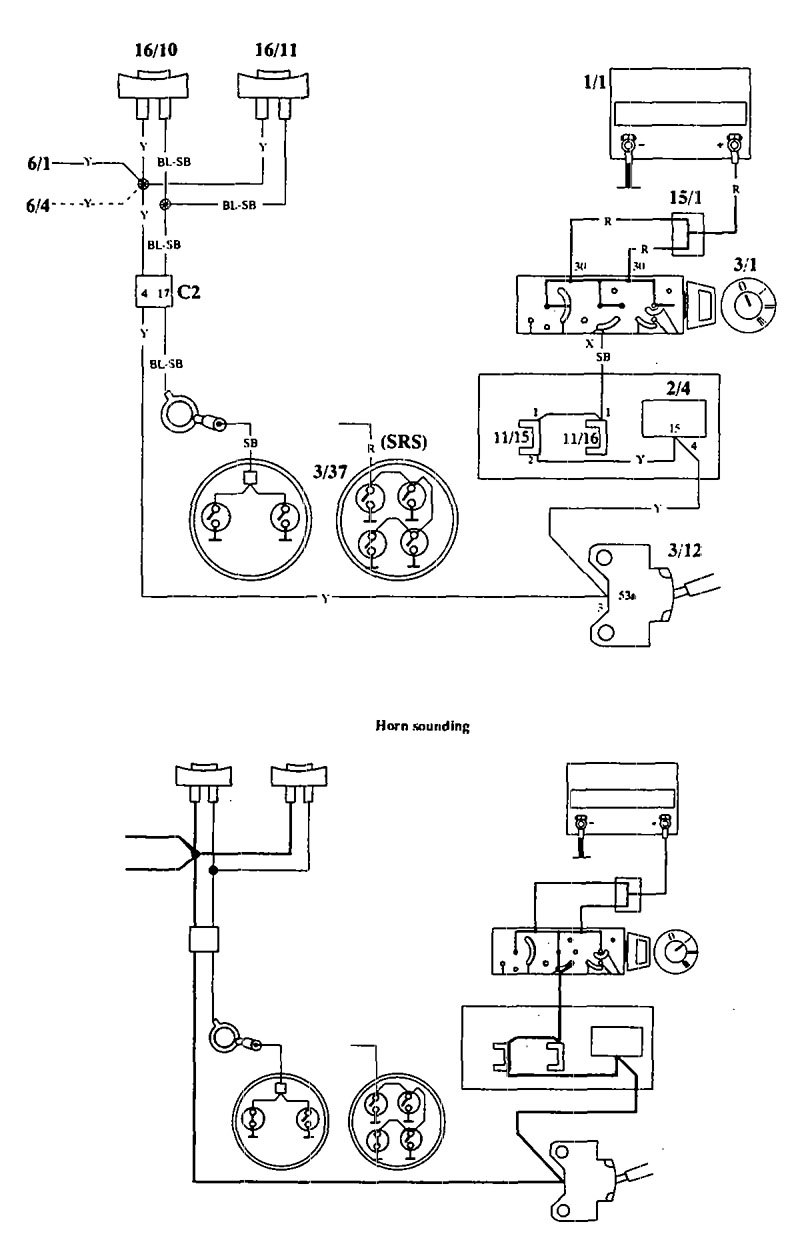 Volvo 940  1994  - Wiring Diagrams - Horn