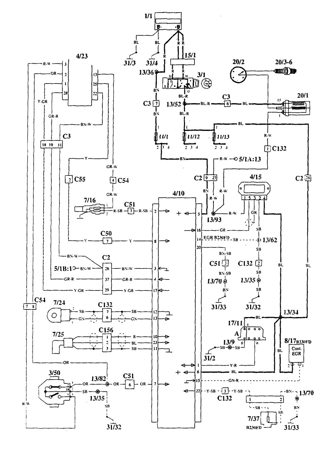Volvo 940 (1995) - wiring diagrams - ignition ...