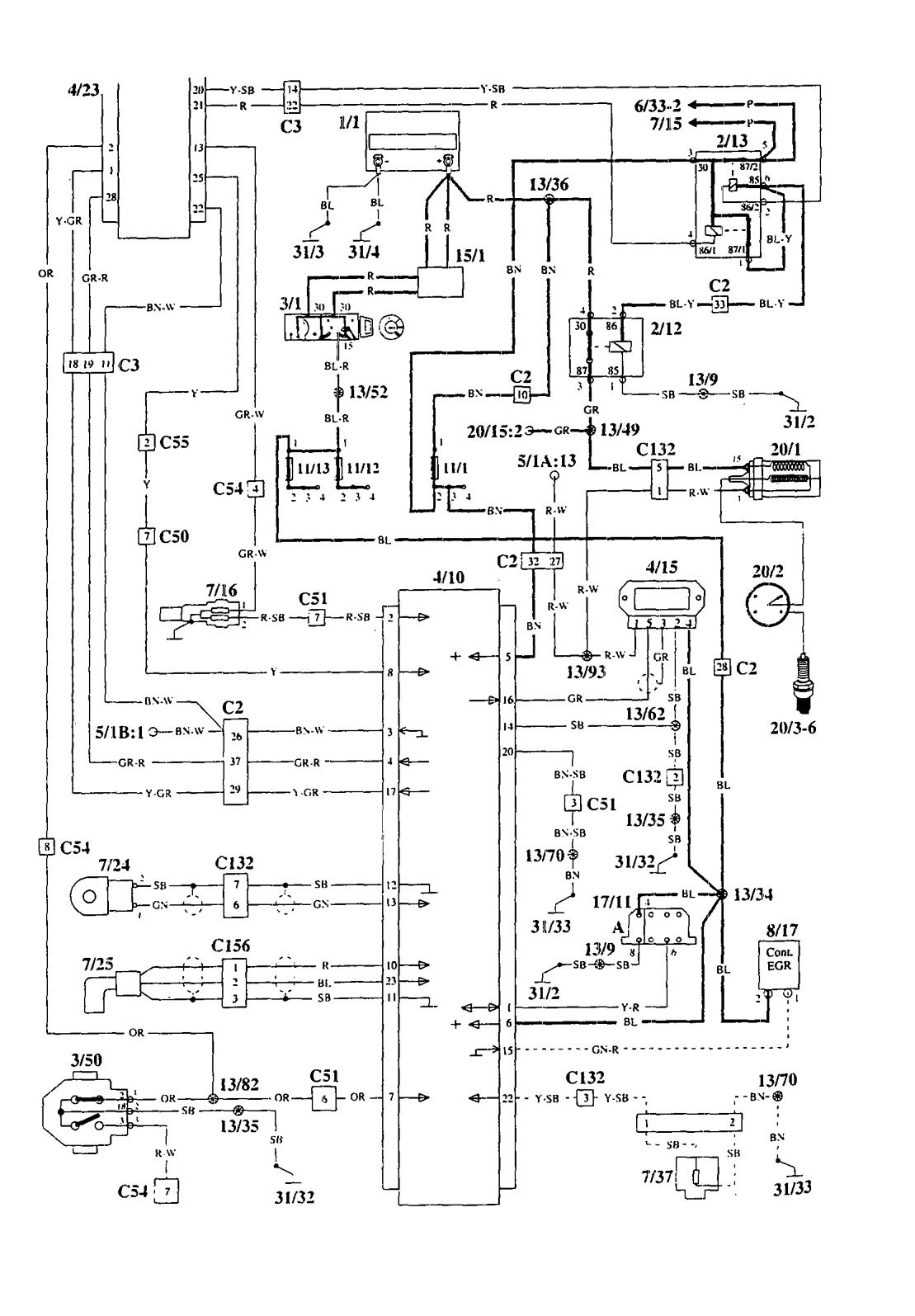 Volvo 940  1995  - Wiring Diagrams - Ignition