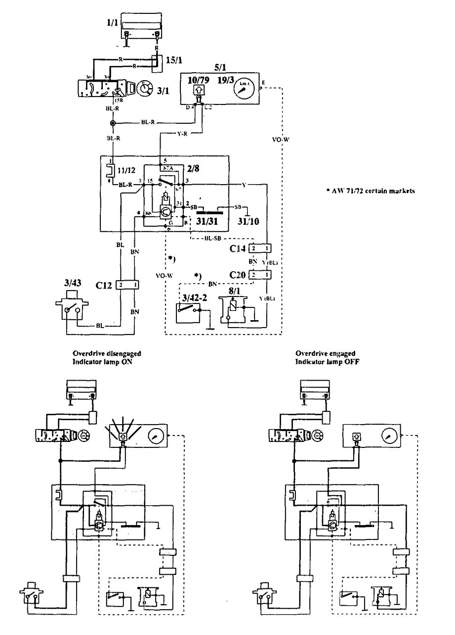 Volvo 940 (1994) - wiring diagrams - overdrive controls - Carknowledge.info | Volvo 940 Overdrive Wiring Diagram |  | Carknowledge.info