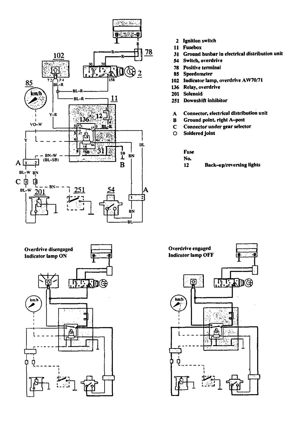 Volvo 940  1991  - Wiring Diagrams - Overdrive Controls
