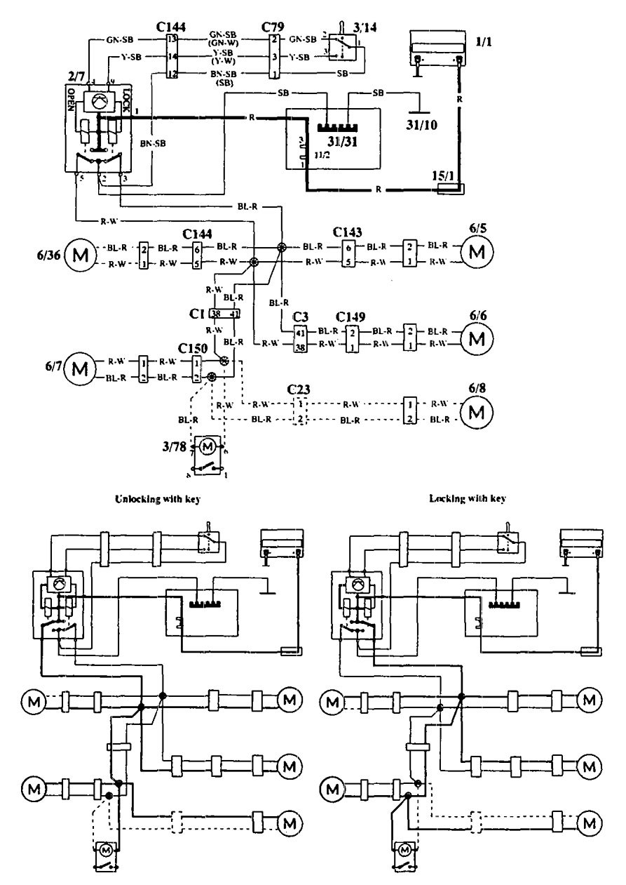 Volvo  wiring diagrams power locks