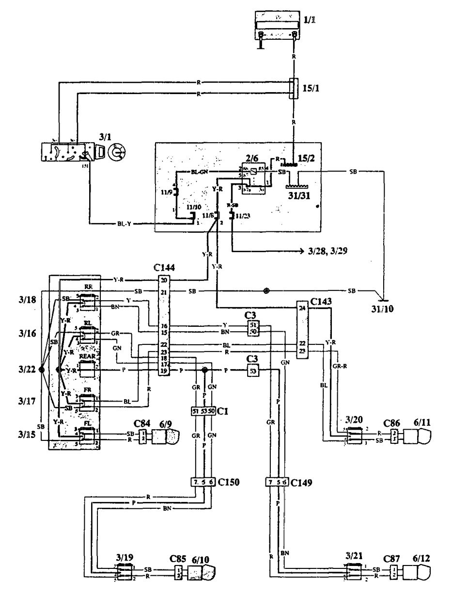 Volvo 940 1993 1994 Wiring Diagrams Power Windows Carknowledge Diagram
