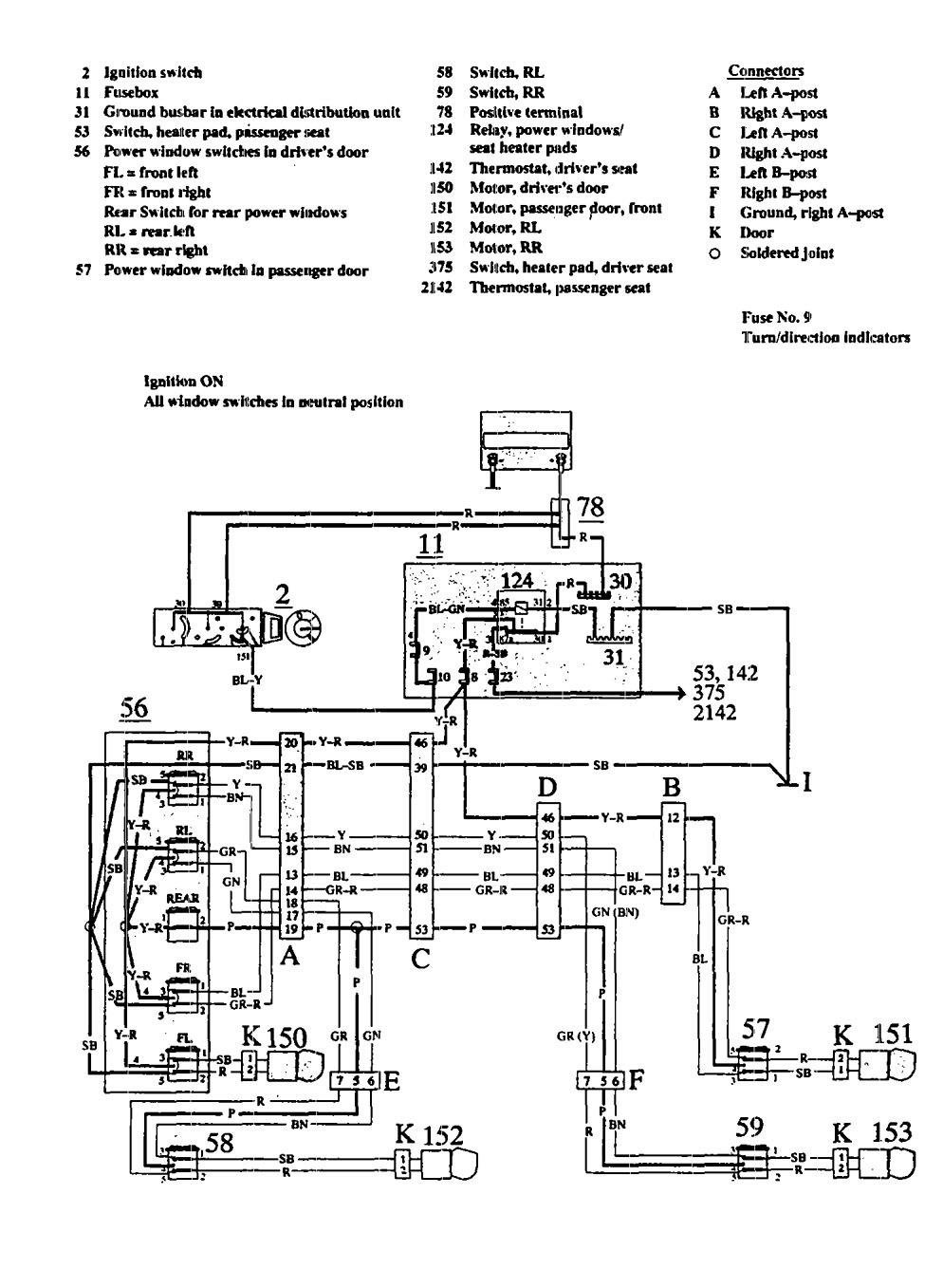 [SCHEMATICS_4CA]  Volvo 940 (1991) - wiring diagrams - power windows - Carknowledge.info | 1991 Volvo 940 Wiring Diagram |  | Carknowledge.info