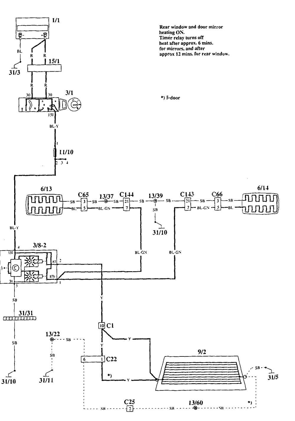 volvo 940  1995  wiring diagrams rear window defogger