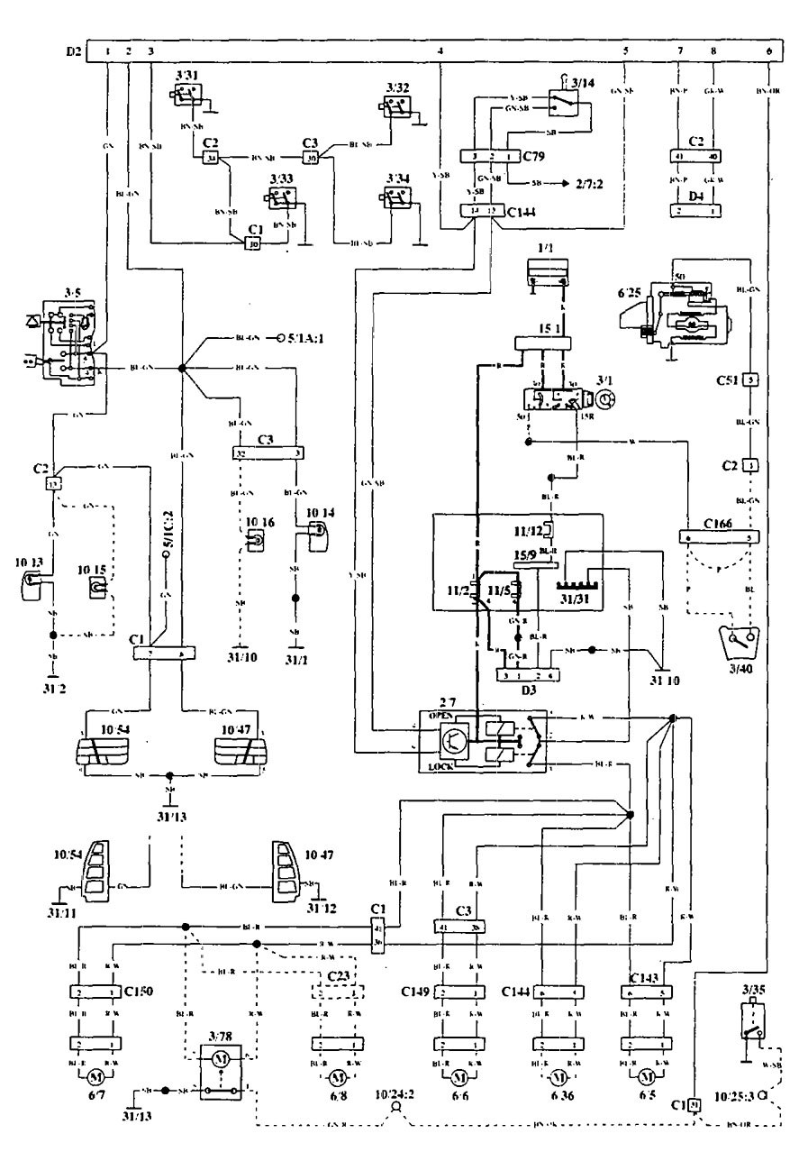 volvo 940  1994 - 1995  - wiring diagrams - security  anti-theft