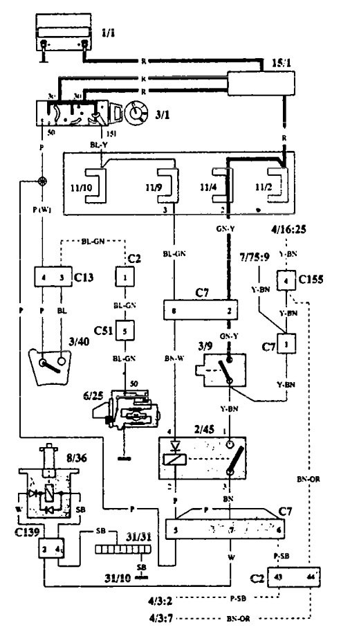 volvo 940  1993  - wiring diagrams - shift interlock