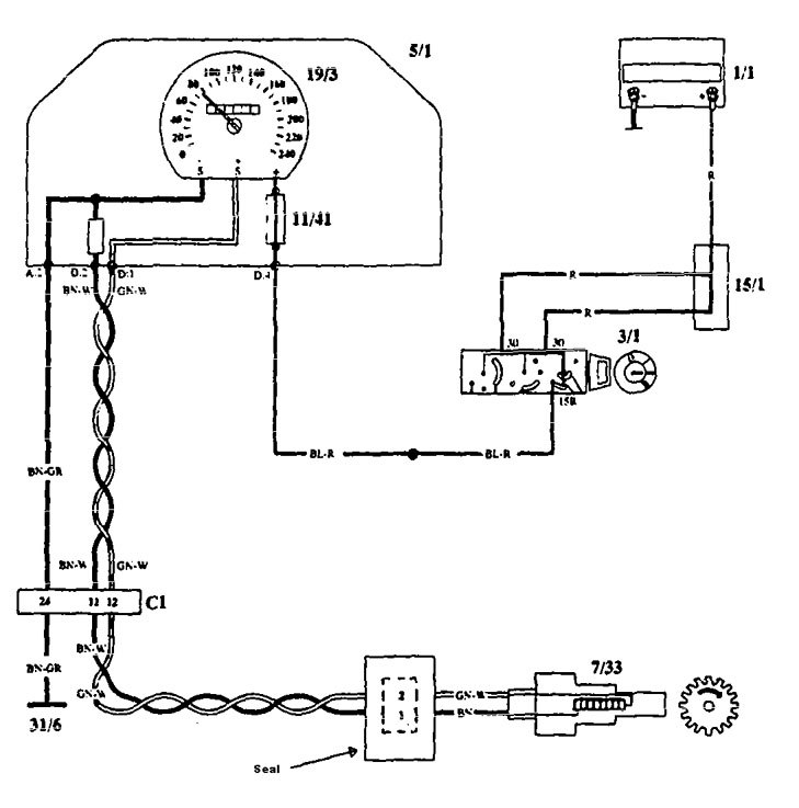 Volvo 940  1993 - 1994  - Wiring Diagrams - Speedometer