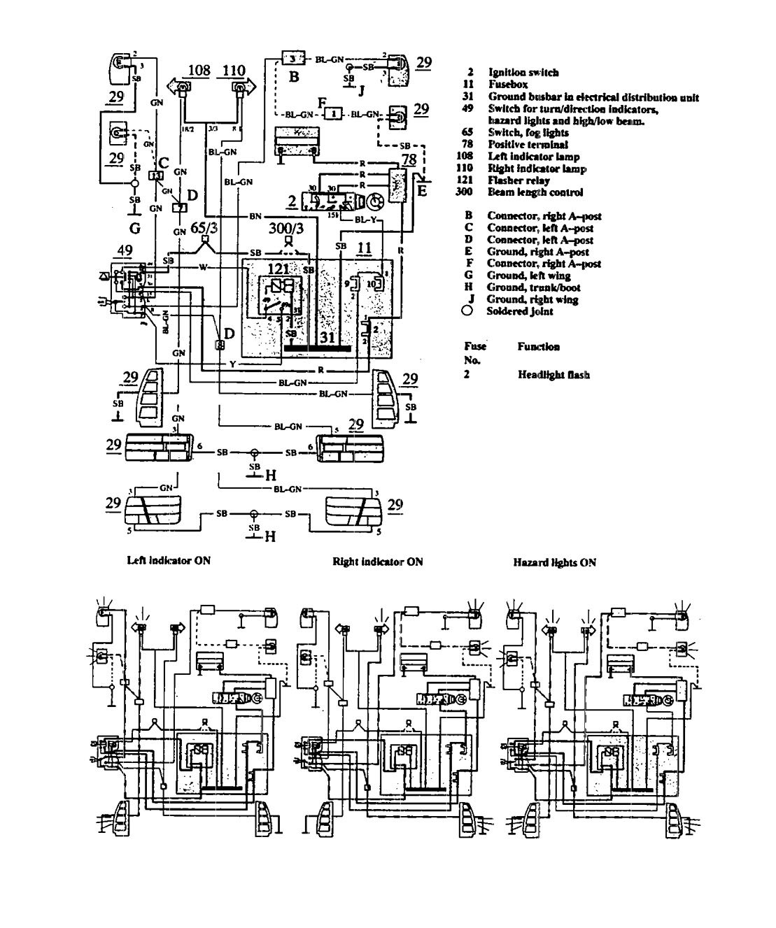 Volvo 940 1991 Wiring Diagrams Turn Signal Lamp