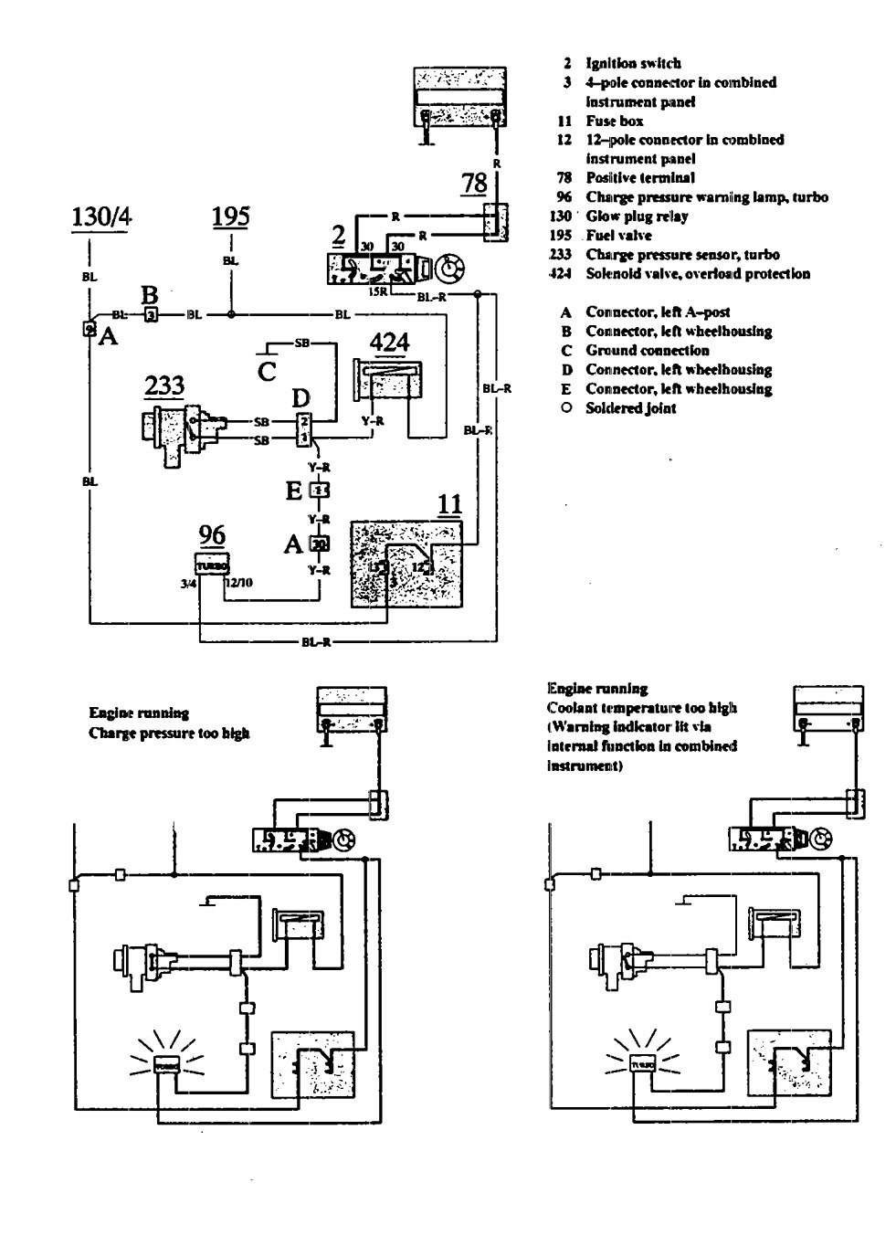 Volvo 940 (1991) - wiring diagrams - warning indicators ... on 3 phase motor wiring diagrams, contactors and relays diagrams, 3 pole switch wiring diagrams, 3 pole relay diagram, 3 pole starter solenoid,