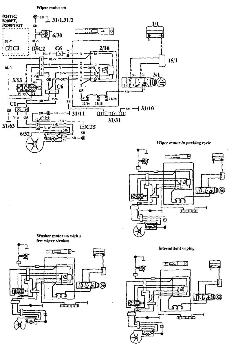 Volvo 940 1994 Wiring Diagrams Wiper Washer Carknowledge 94 Ford Probe 2 0l Diagram