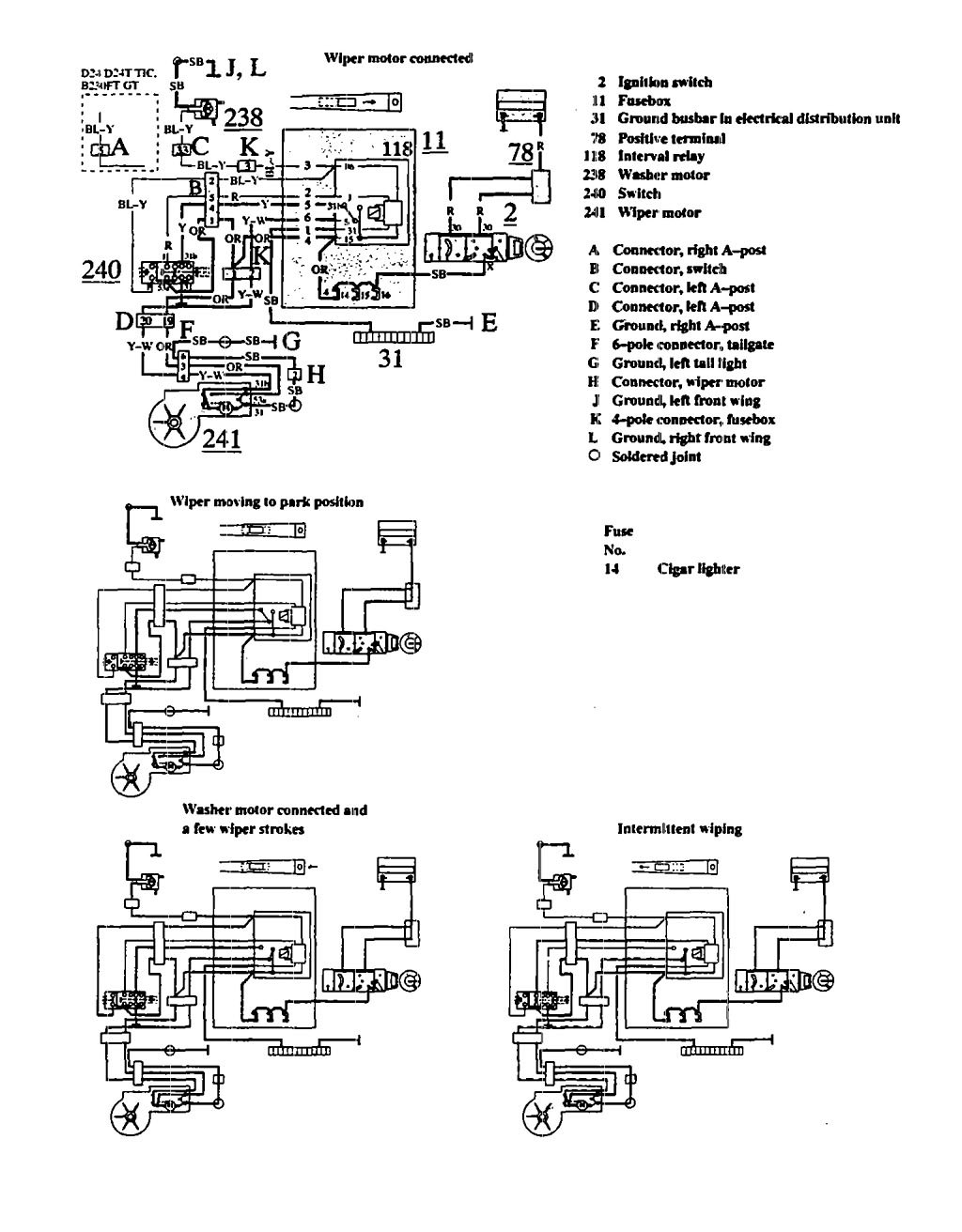 Volvo 940 1991 Wiring Diagrams Wiper Washer