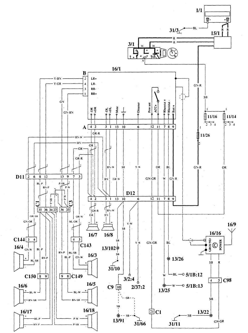 volvo 940  1995  - wiring diagrams - audio