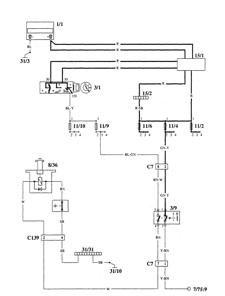 volvo 940 – wiring diagrams – shift interlock (part 1)