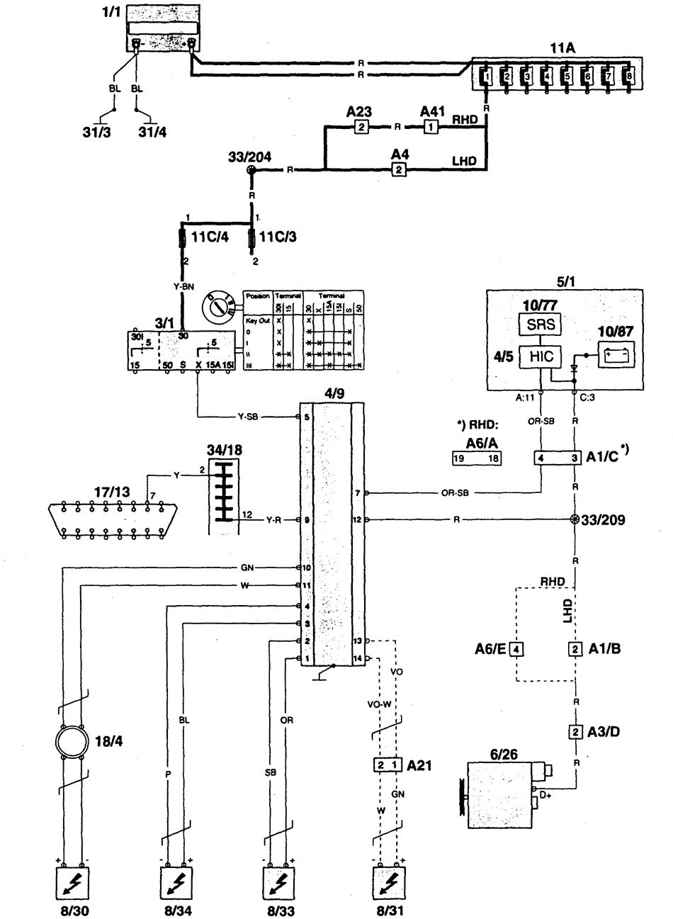 volvo roller wiring diagram volvo 960 (1997) - wiring diagrams - air bags - carknowledge 1997 volvo 960 wiring diagram