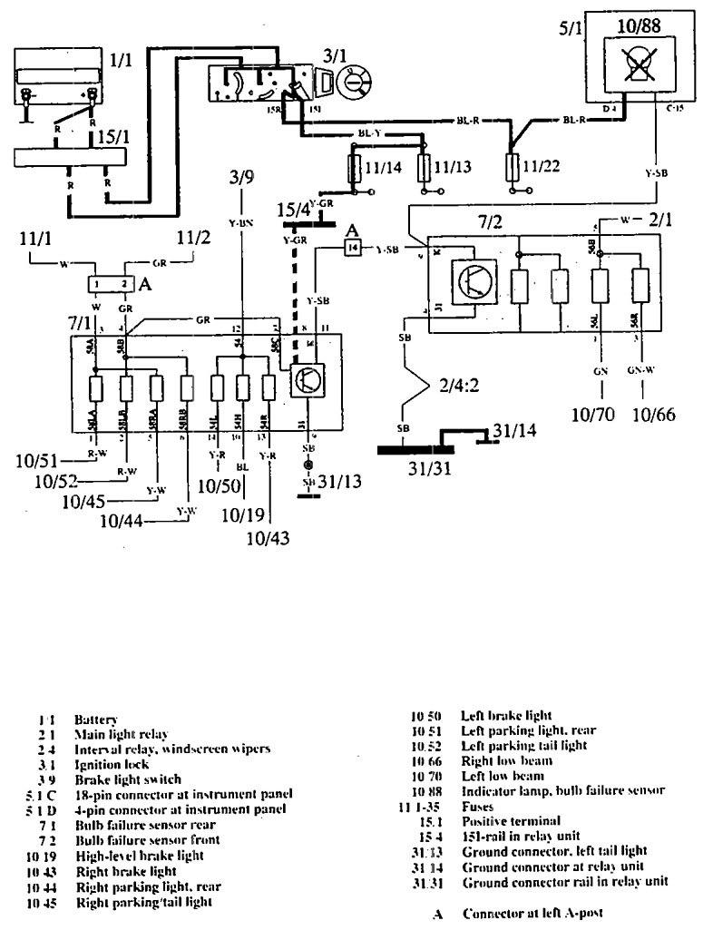 volvo 960  1992  - wiring diagrams - audible warning system