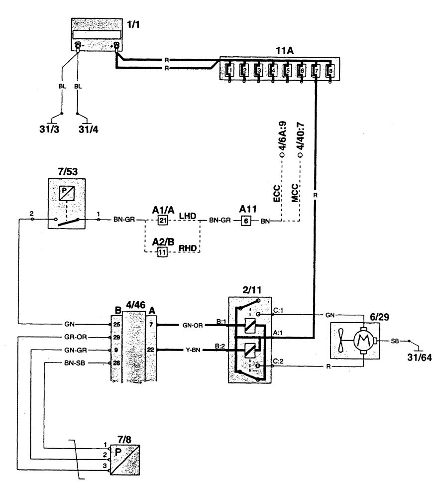 Wiring Diagram Volvo 960 : Volvo  wiring diagrams cooling fans