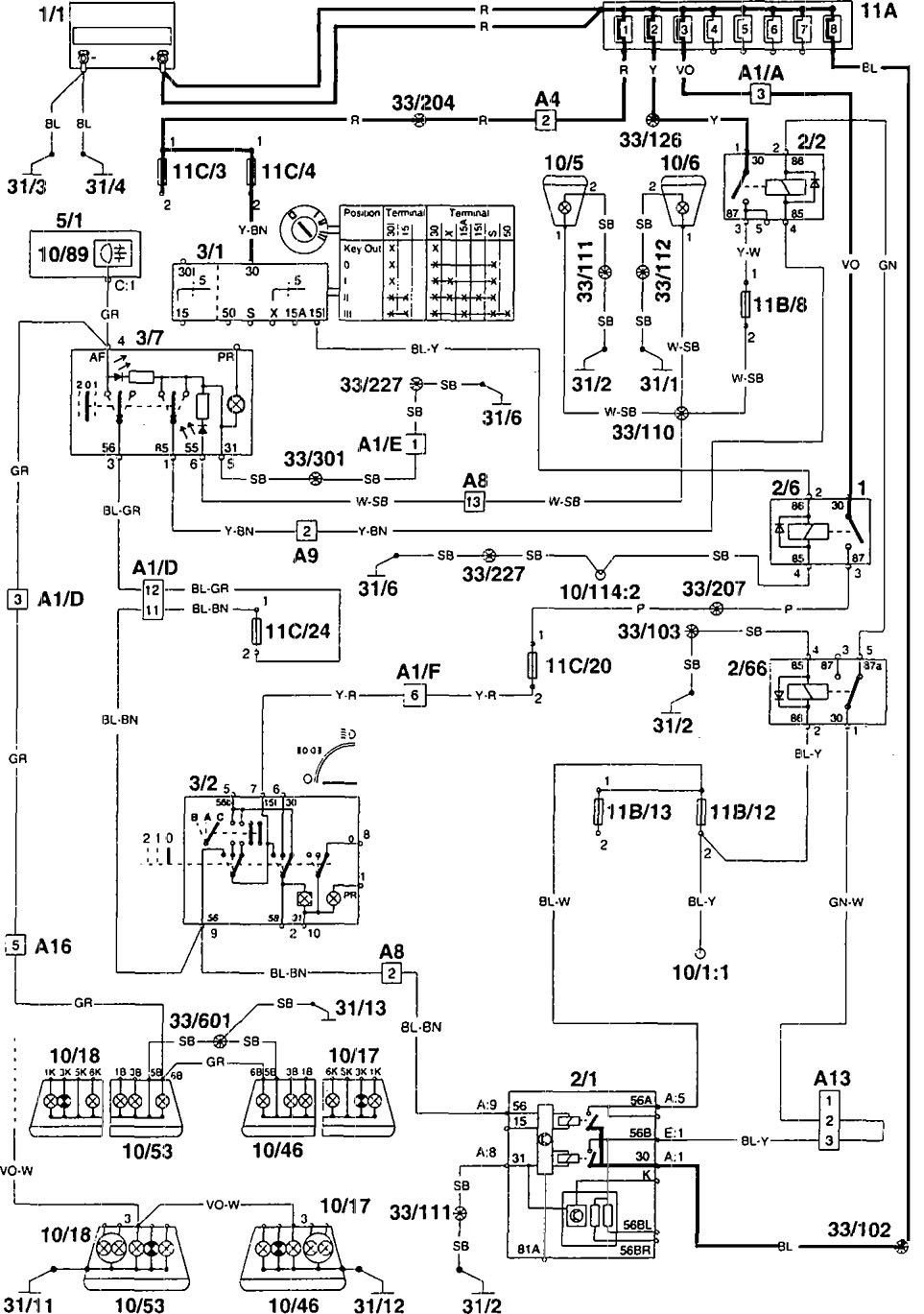 volvo 960  1995  - wiring diagrams - fog lamps
