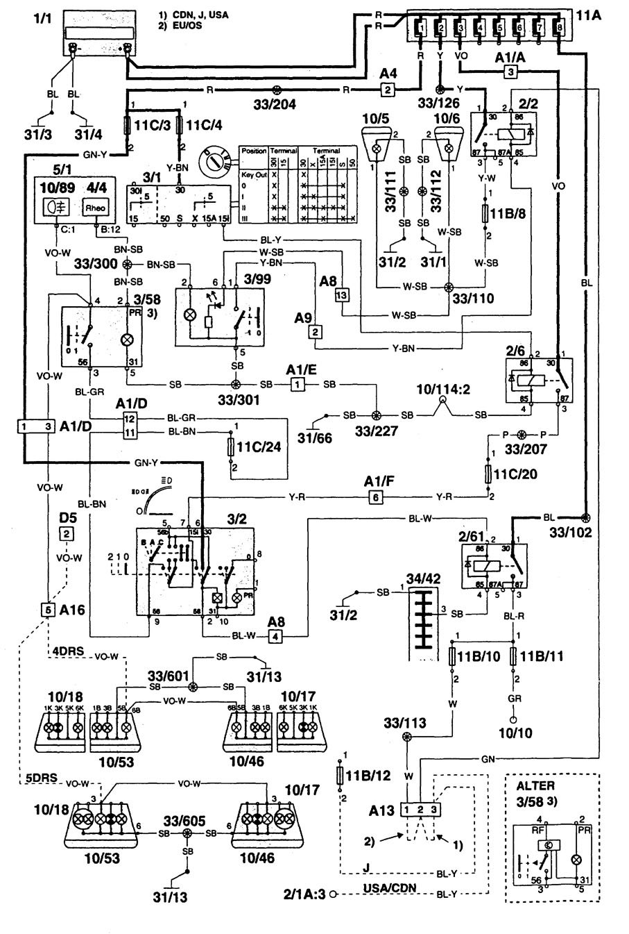 volvo 960  1995  - wiring diagrams - fog lamps