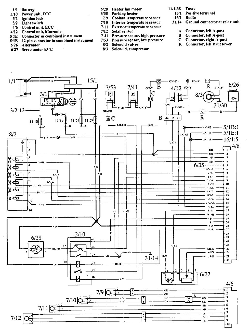 1992 mitsubishi 3000gt stereo wiring diagram volvo 960  1992 1994  wiring diagrams hvac controls  volvo 960  1992 1994  wiring