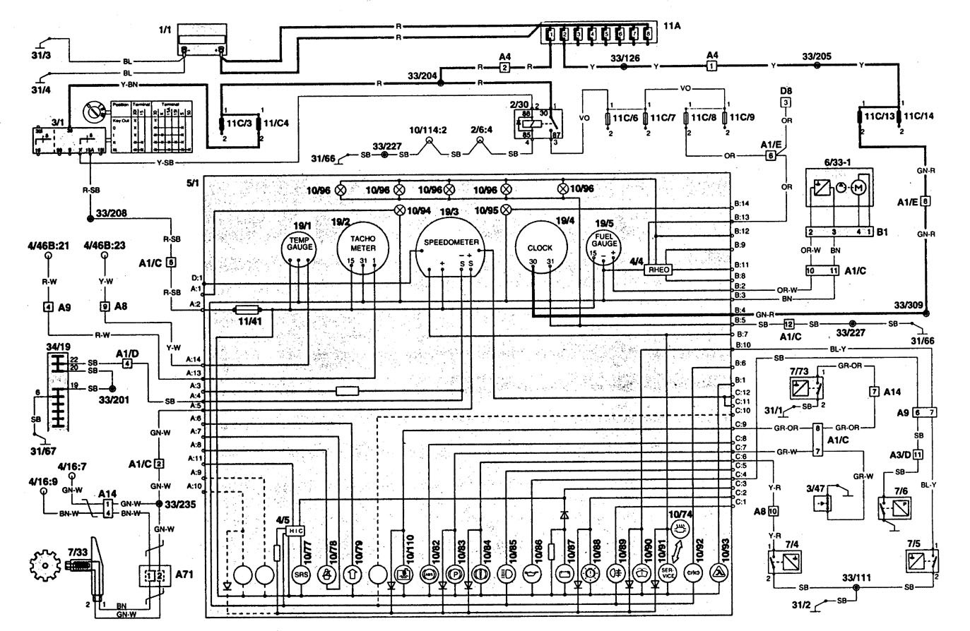 Wiring Diagram Volvo 960 : Volvo  wiring diagrams instrumentation