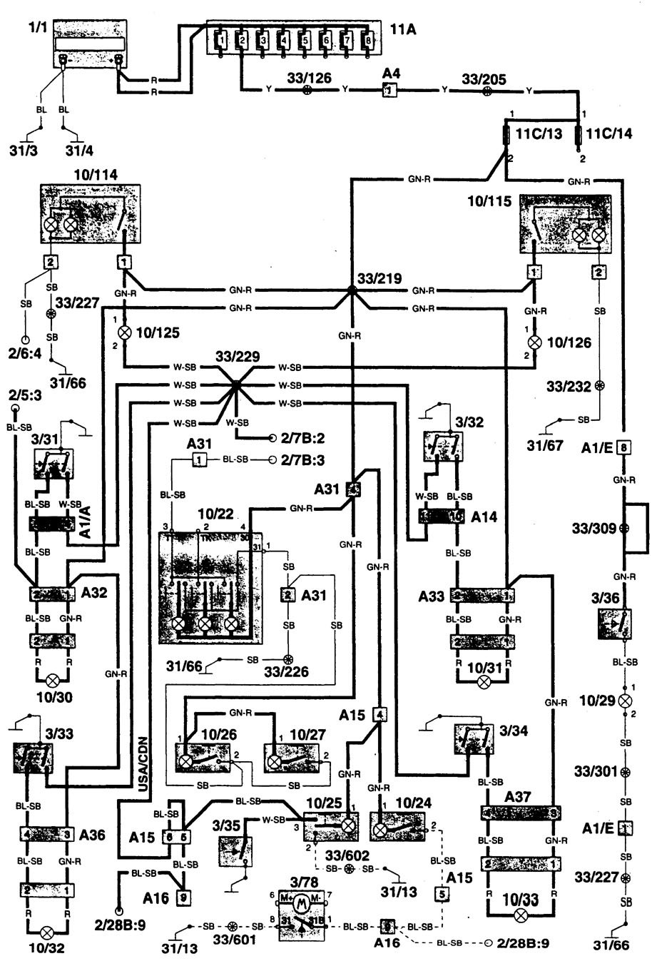 Volvo 960 (1996) - wiring diagrams - interior lighting - Carknowledge.info | Volvo 960 Wiring Diagram |  | Carknowledge.info