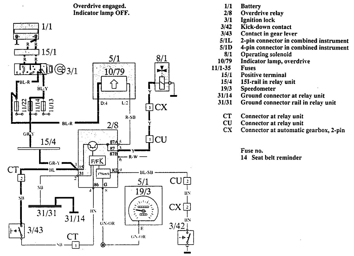 Volvo 960 (1992 – 1994) – wiring diagrams – overdrive controls