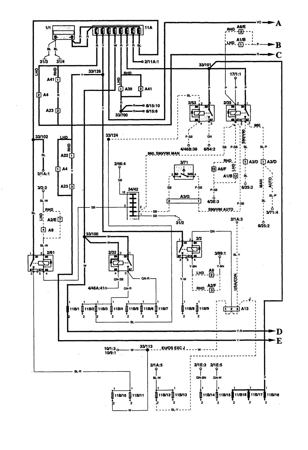 volvo 960  1997  - wiring diagrams - power distribution