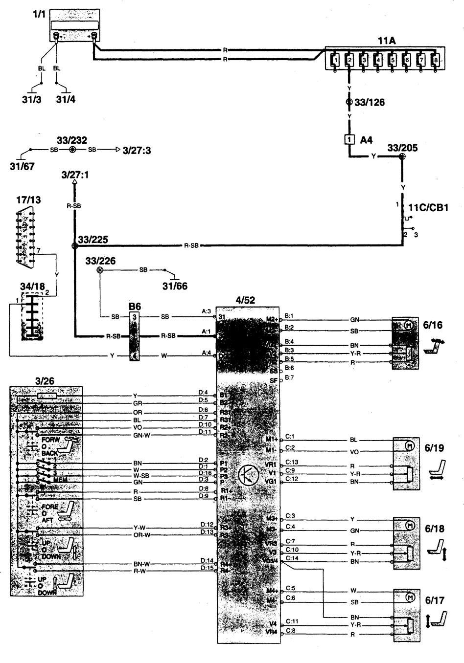 volvo 960  1996  - wiring diagrams - power seats