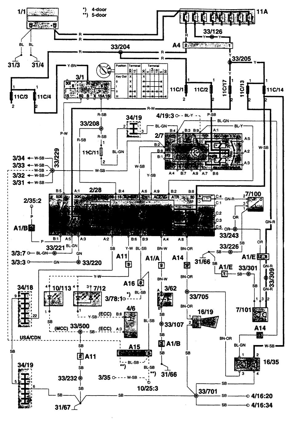 volvo 960  1996  - wiring diagrams  anti