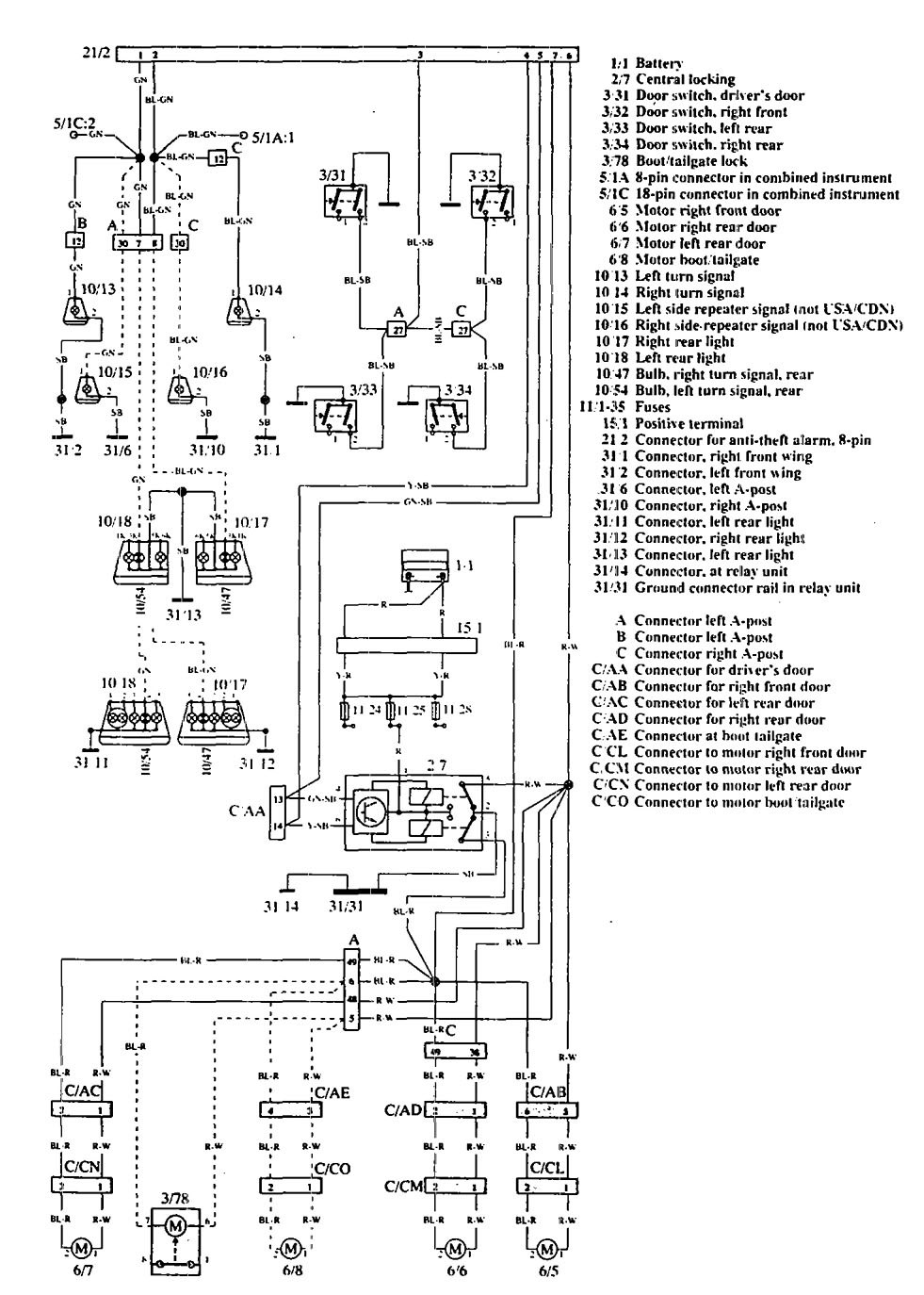 volvo 960  1992 - 1994  - wiring diagrams  anti