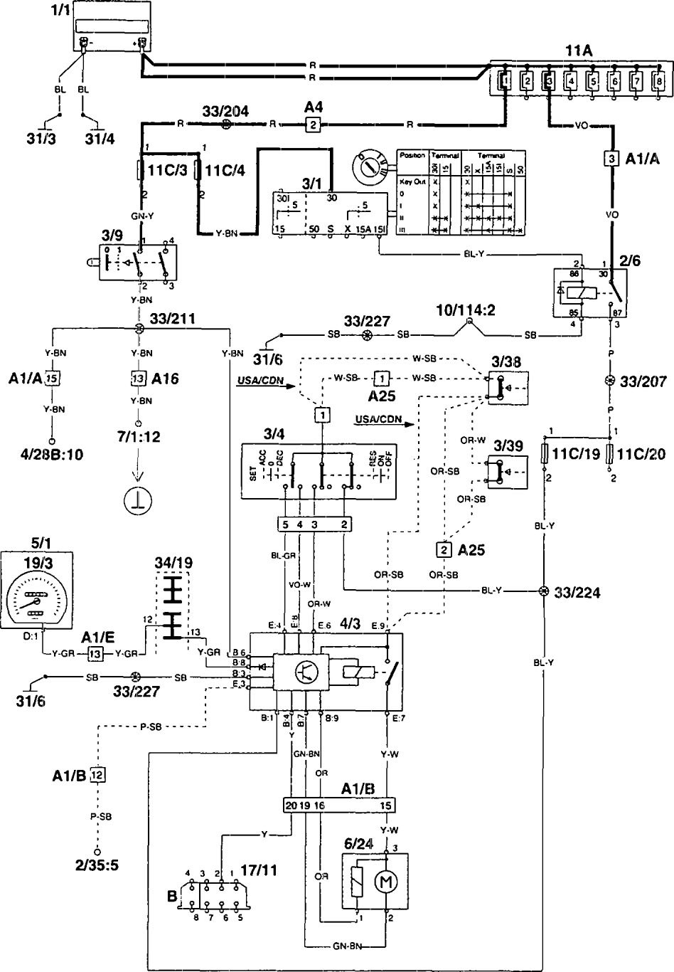 Volvo 960 (1995) - wiring diagrams - speed controls - Carknowledge.info | Volvo A25c Wiring Diagram |  | Carknowledge.info
