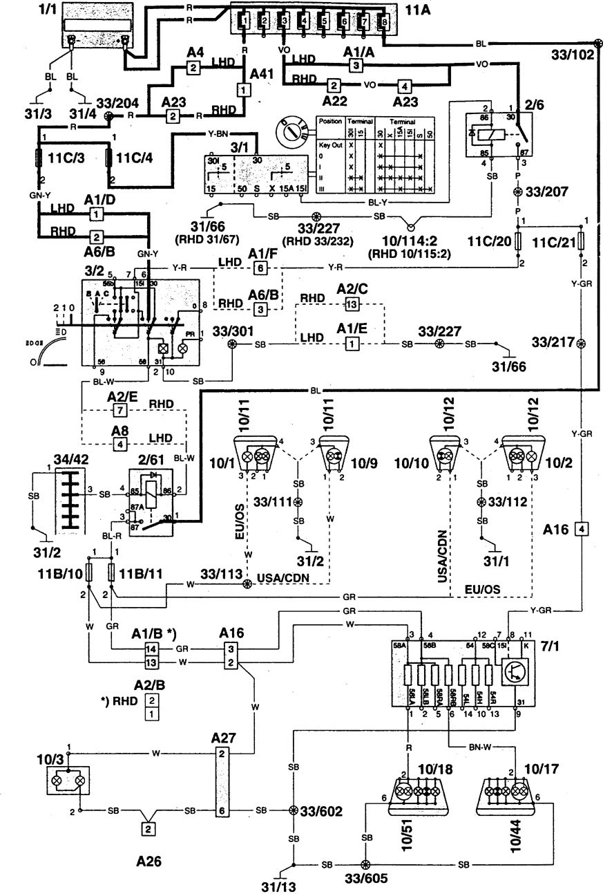 volvo 960  1995  - wiring diagrams - tail lamps