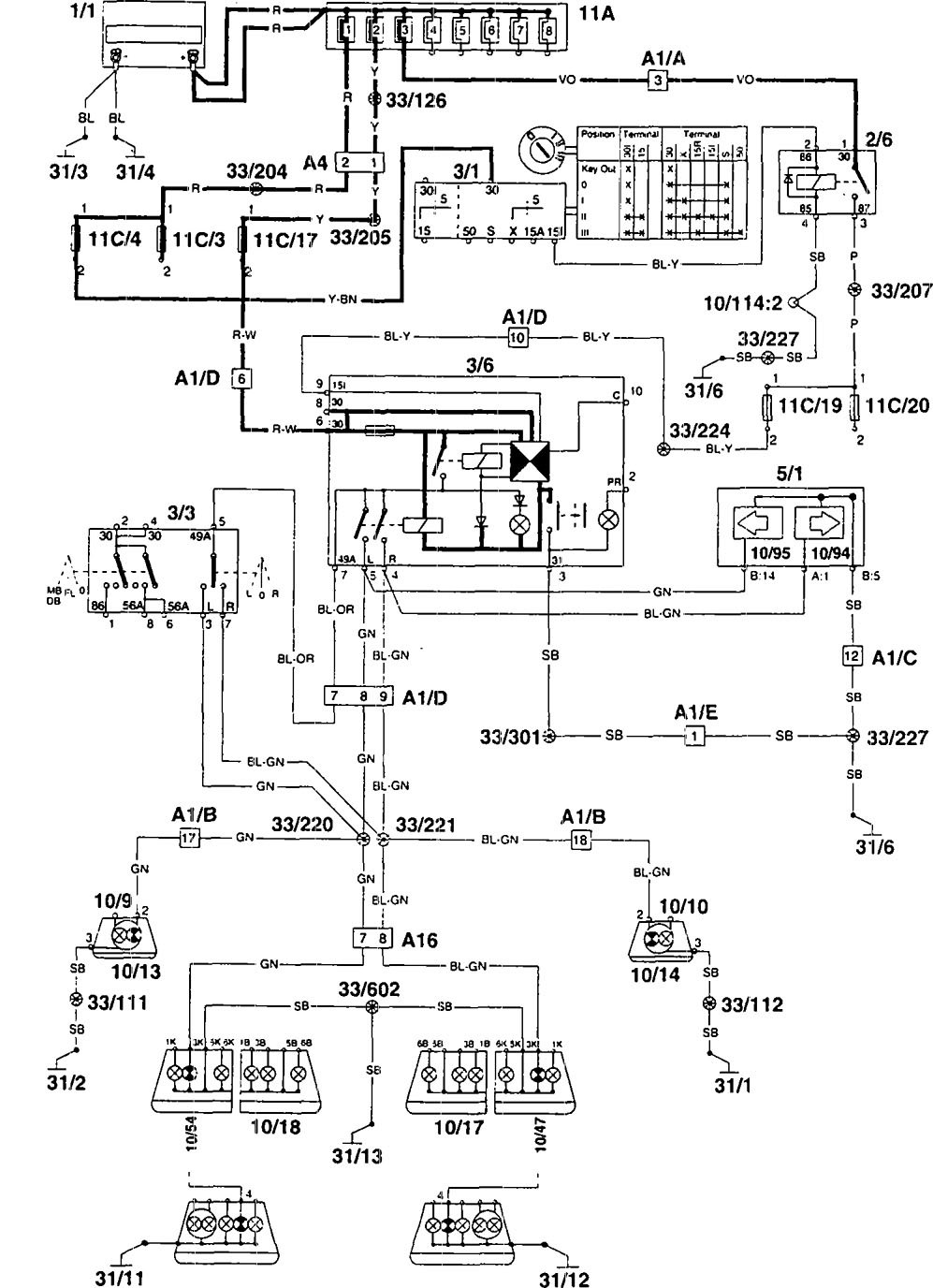 Wiring Diagram Volvo 960 : Volvo  wiring diagrams turn signal lamp
