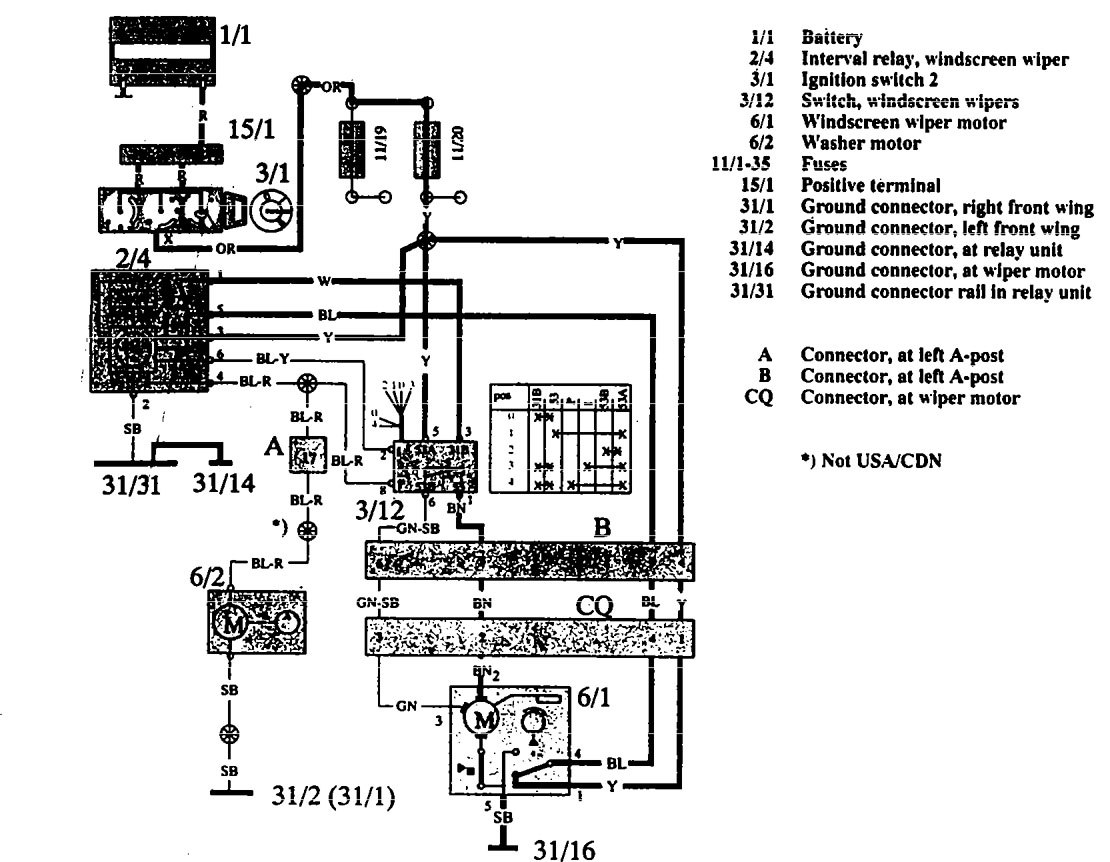 volvo 960  1992 - 1994  - wiring diagrams  washer