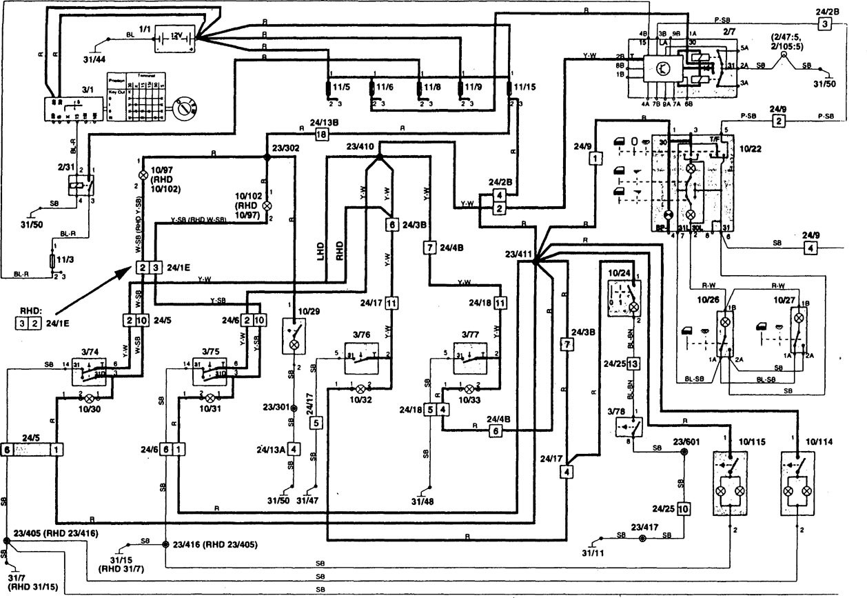 Volvo 850 1997 Wiring Diagrams Courtesy Lamps