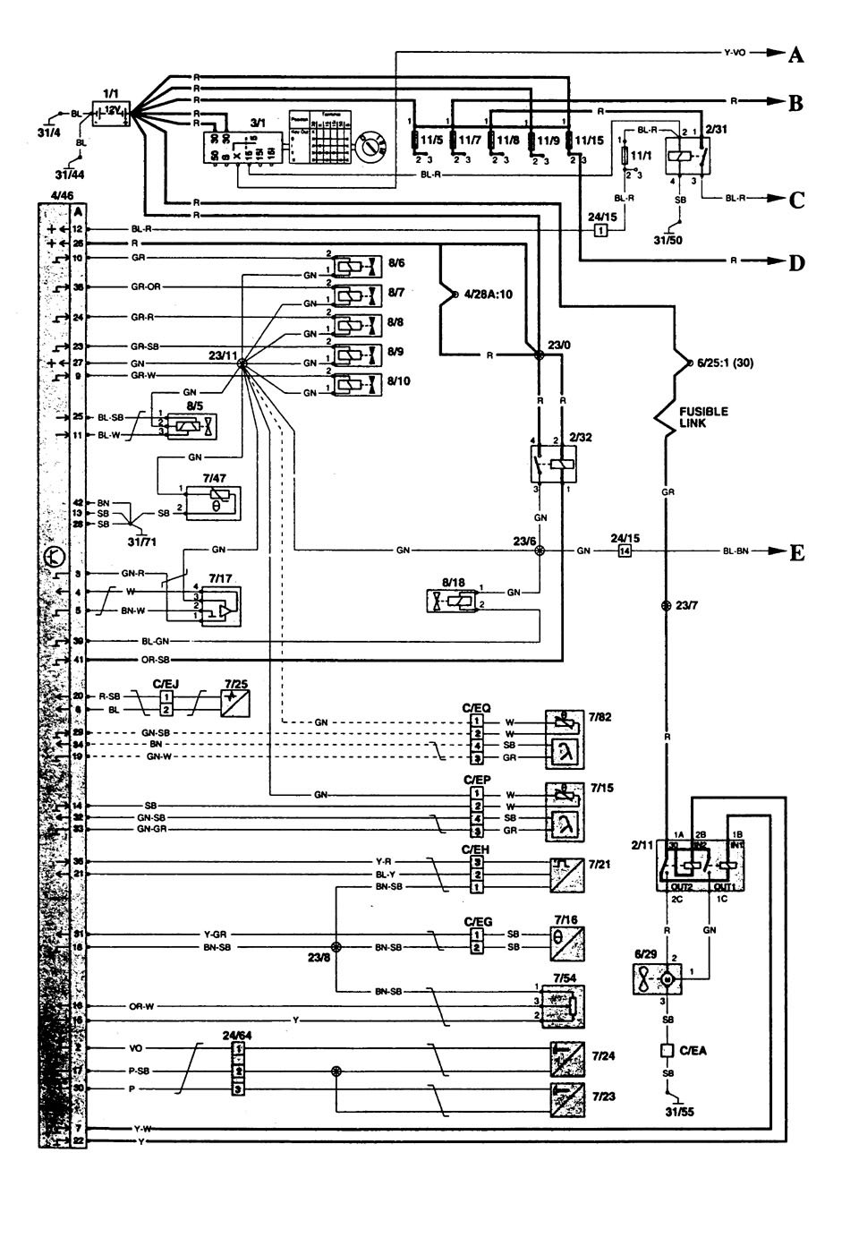 Volvo 850 1997 Wiring Diagrams Fuel Controls