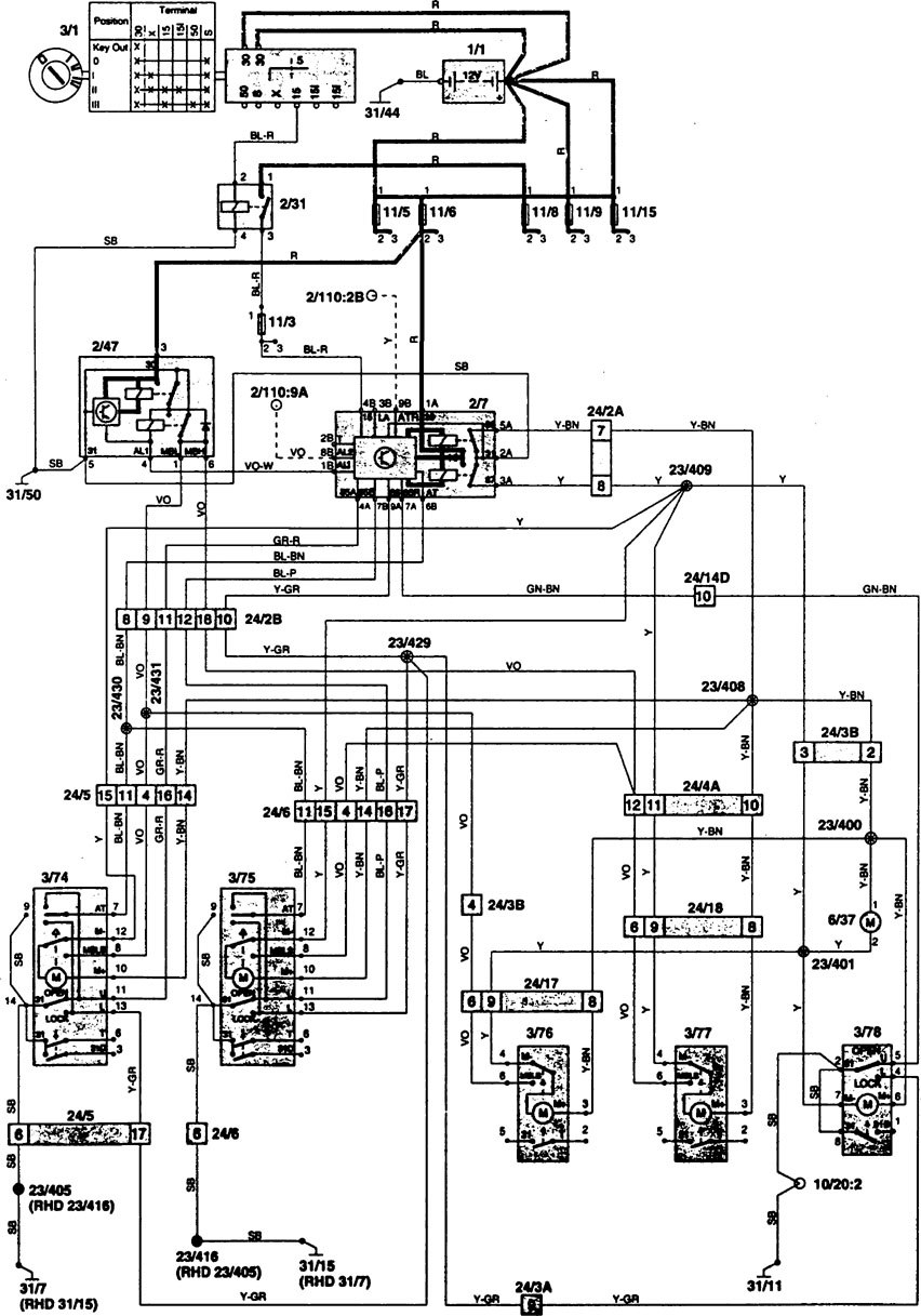 volvo 850  1997  - wiring diagrams