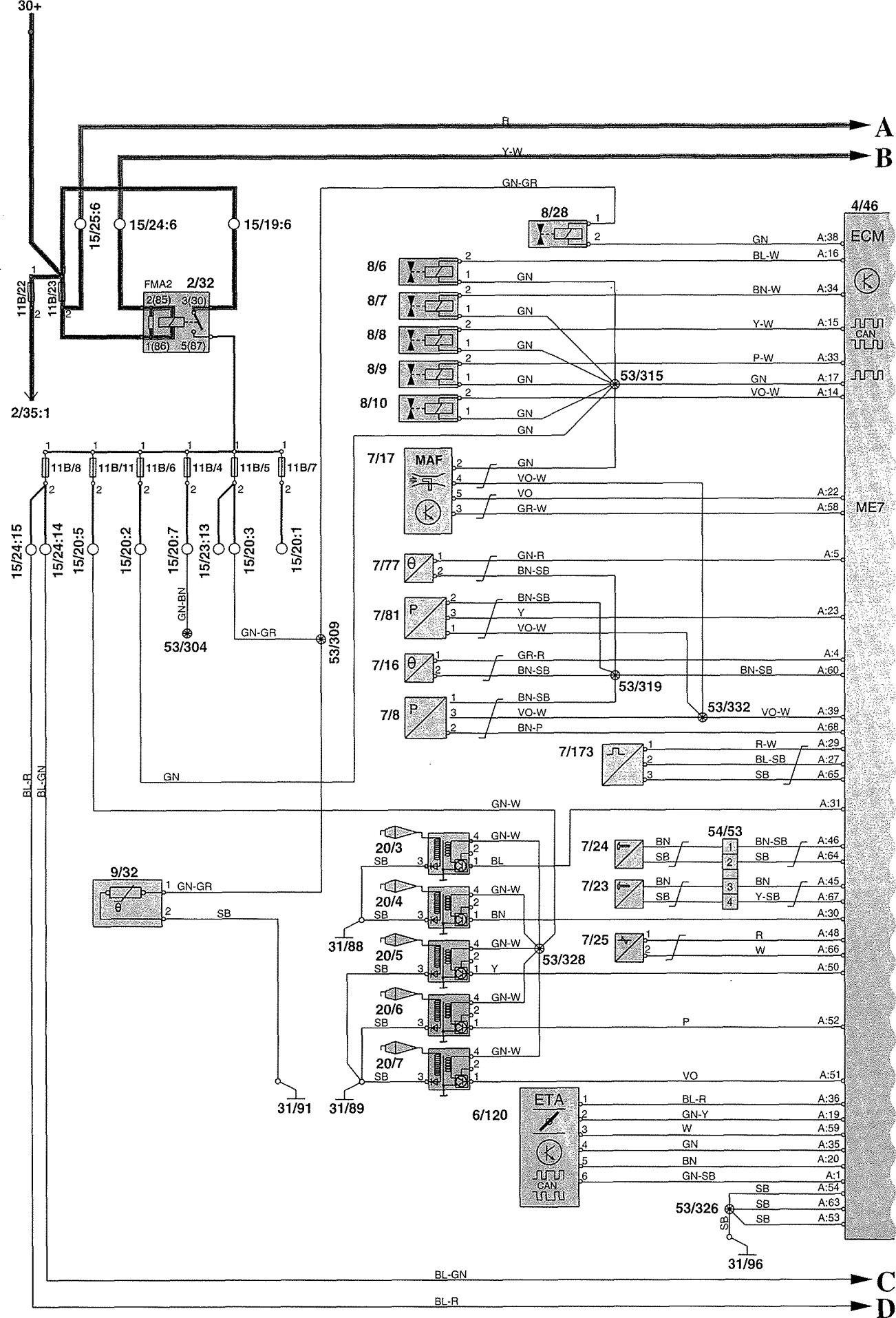 Volvo V70 2002 Wiring Diagrams Fuel Controls