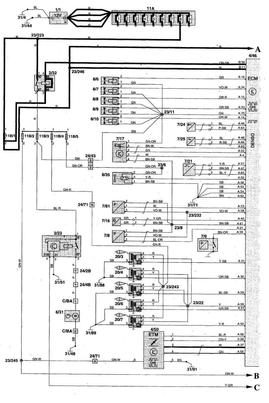 volvo v70  1998  - wiring diagrams - fuel pump