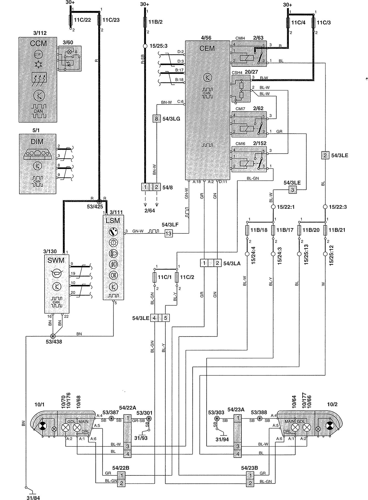 Volvo V70 Wiring Diagram Manual Of 2005 Xc70 2002 Diagrams Headlamps Carknowledge Rh Info