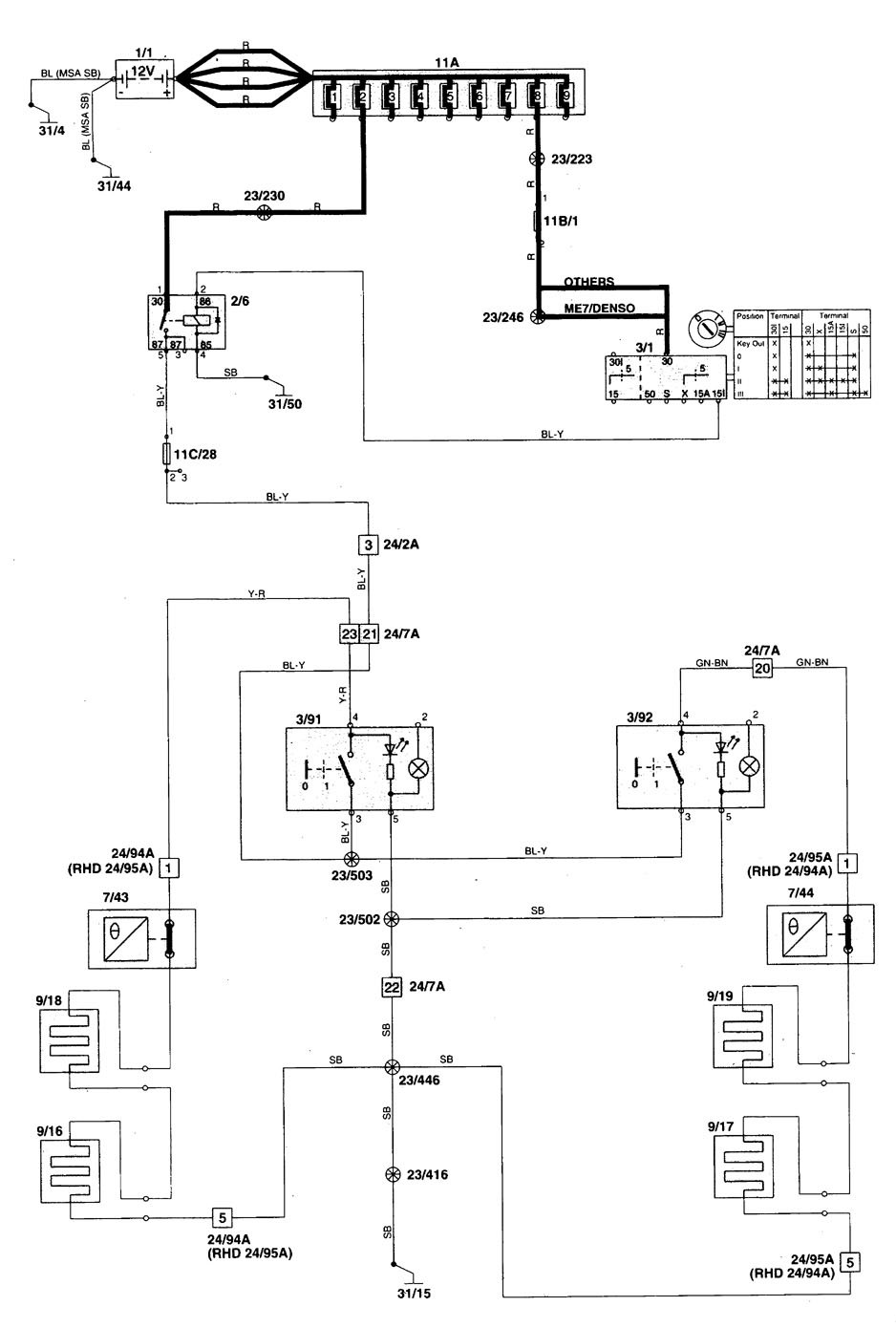 volvo v70  1998 - 1999  - wiring diagrams