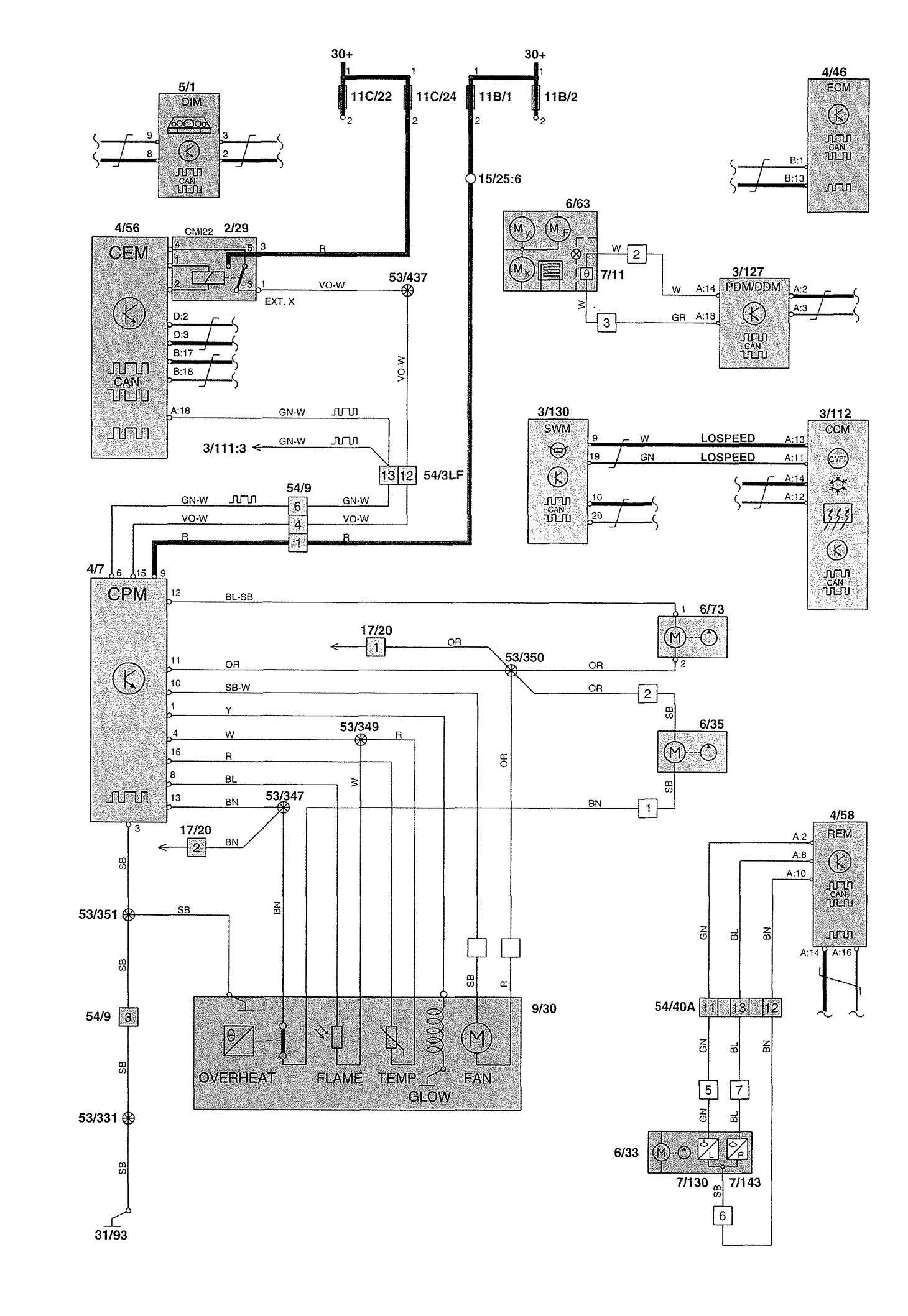 volvo v70  2002  - wiring diagrams - heater