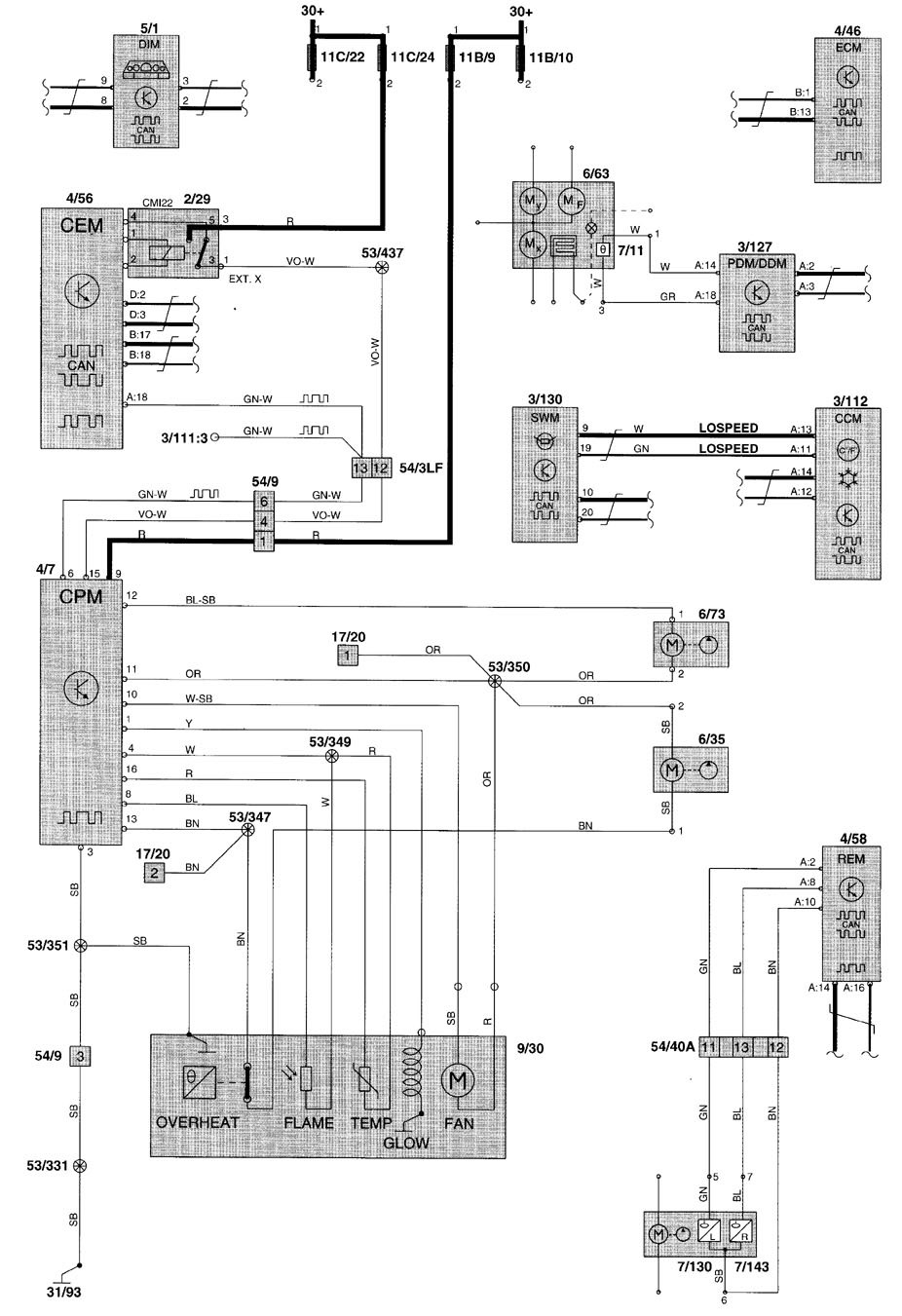 volvo v70  2000  - wiring diagrams - heater
