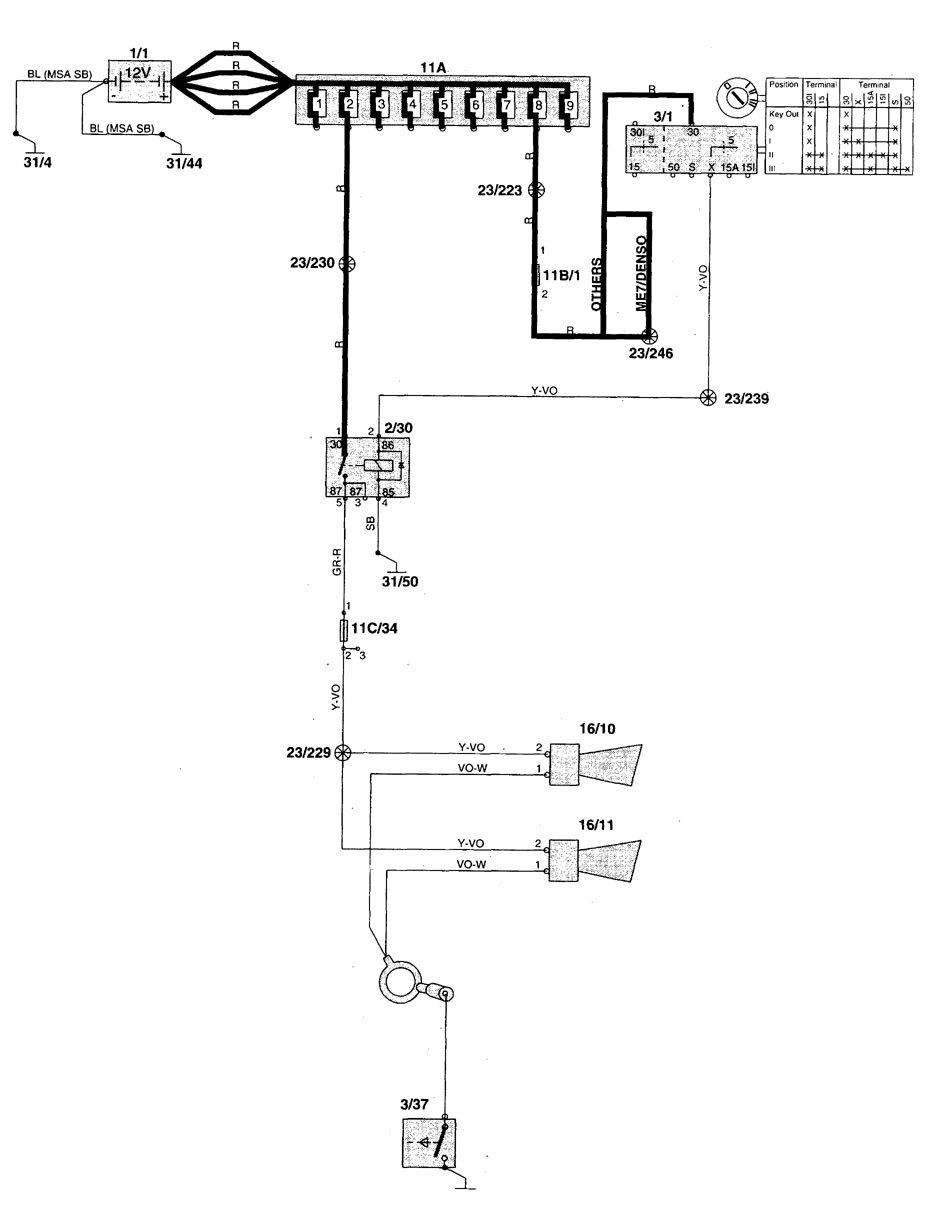 Volvo V70 1998 1999 Wiring Diagrams Horn Carknowledge Diagram