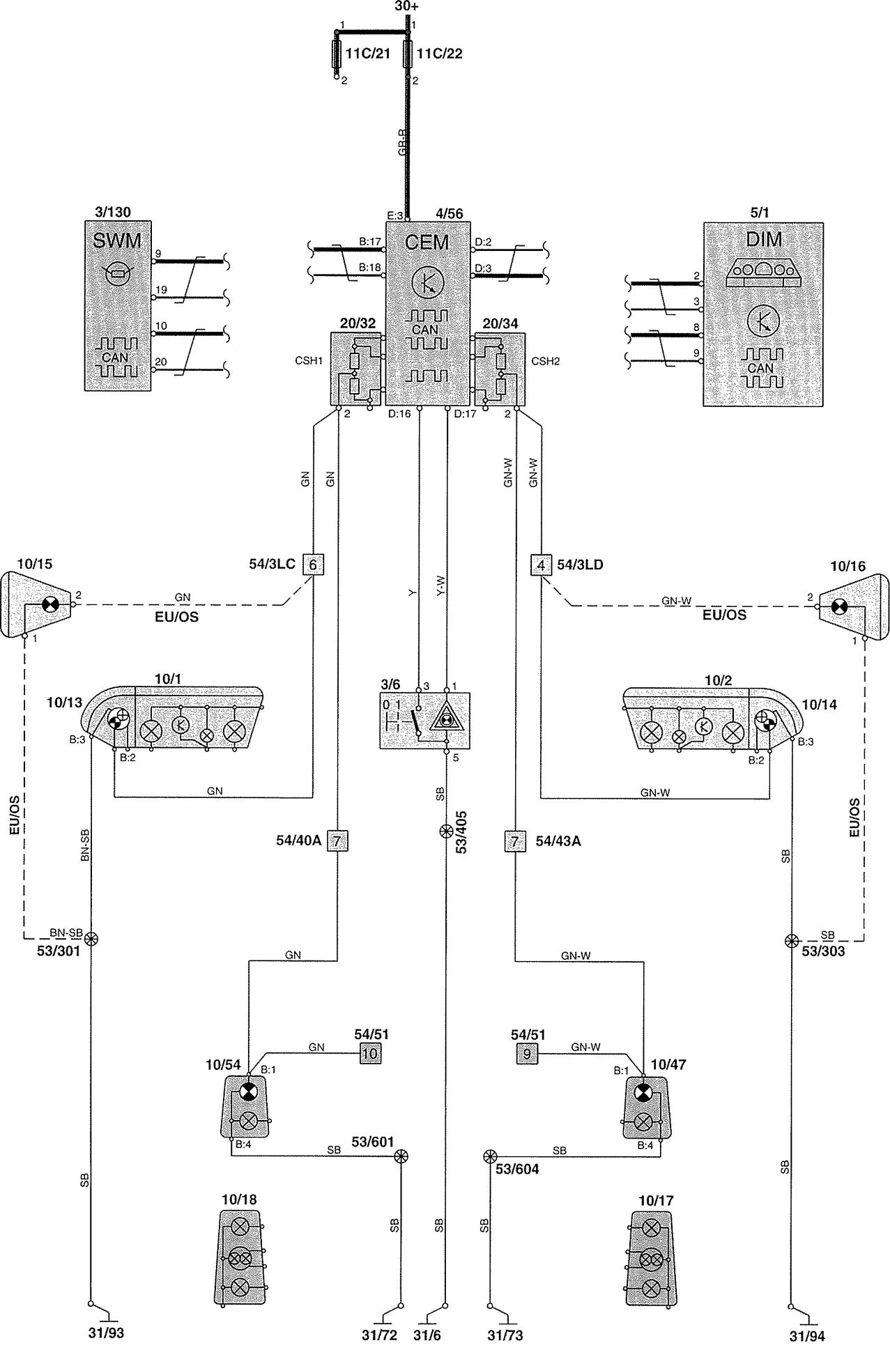 Volvo V70 2002 wiring diagrams indicator lamp